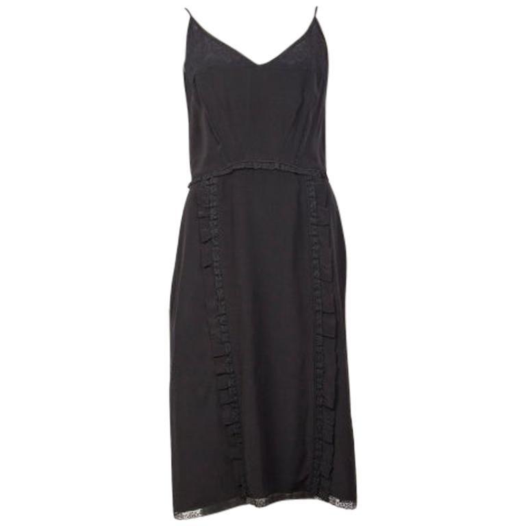 PRADA black silk LACE TRIMMED Spaghetti Strap Cocktail Dress 40