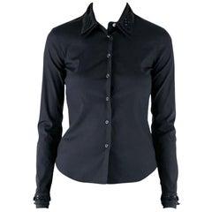 Prada Black Silk Stretch Embellished Button Front Shirt S