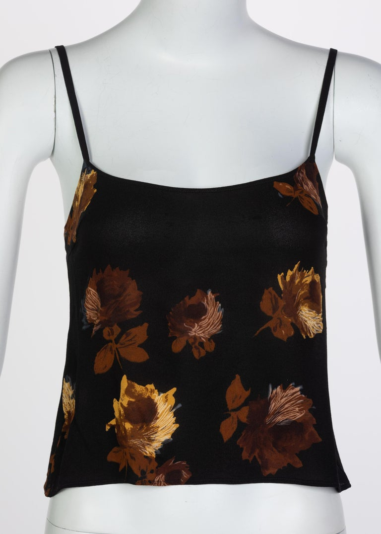 Prada Black Silk Yellow Floral Camisole Top, 2005 In Excellent Condition For Sale In Boca Raton, FL