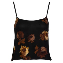 Prada Black Silk Yellow Floral Camisole Top, 2005
