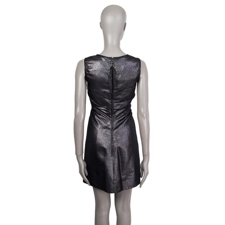 Black PRADA black & silver silk BOW LUREX Sleeveless Sheath Cocktail Dress 38 For Sale