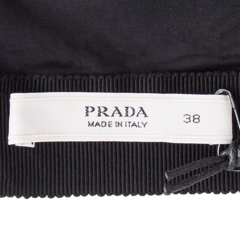 PRADA black & silver silk BOW LUREX Sleeveless Sheath Cocktail Dress 38 In Excellent Condition For Sale In Zürich, CH