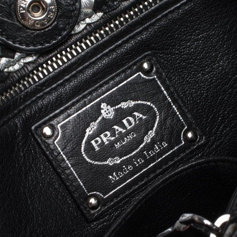 Prada Black/Silver Woven Leather Madras Tote For Sale 6