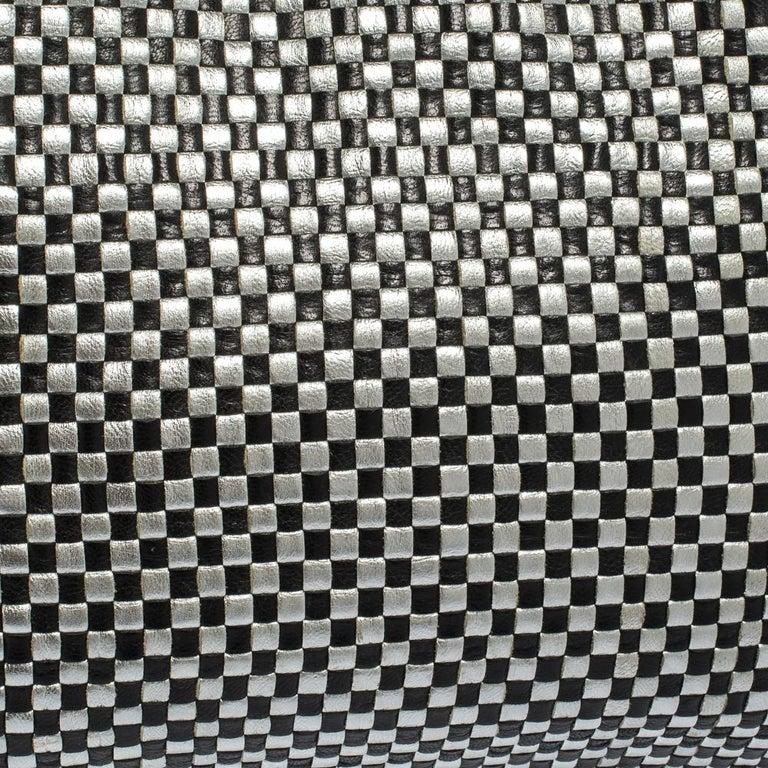 Prada Black/Silver Woven Leather Madras Tote For Sale 7