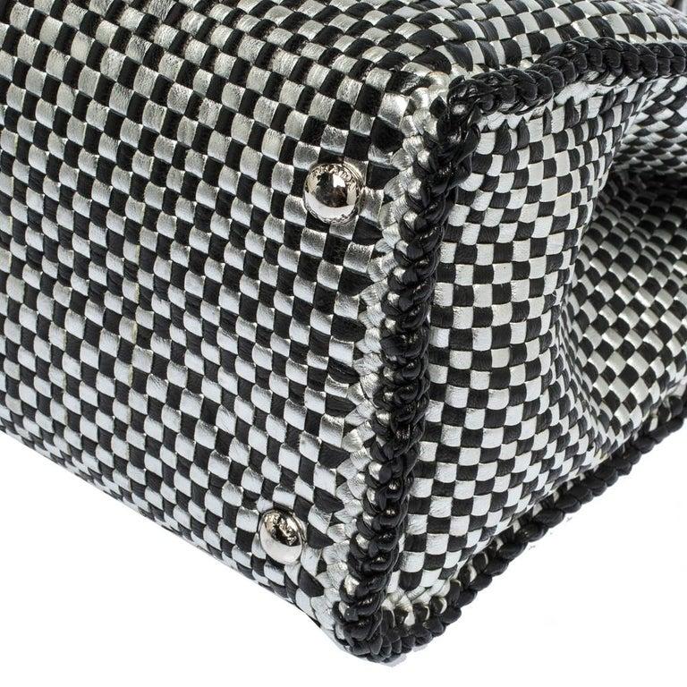 Prada Black/Silver Woven Leather Madras Tote For Sale 8