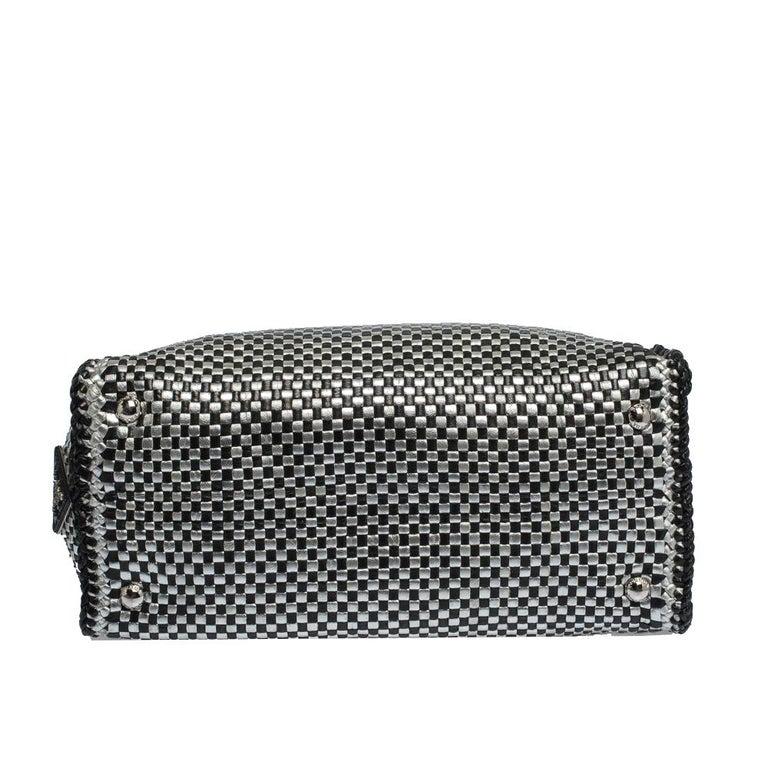 Prada Black/Silver Woven Leather Madras Tote For Sale 1