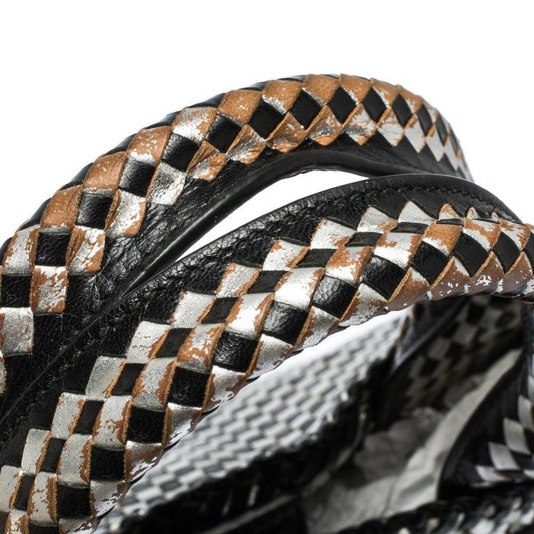 Prada Black/Silver Woven Leather Madras Tote For Sale 2
