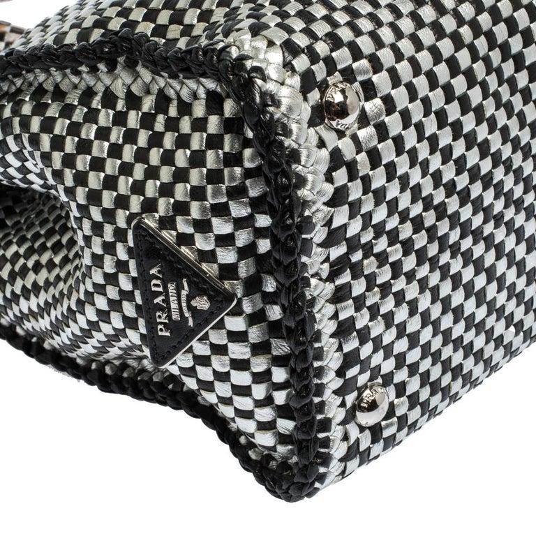 Prada Black/Silver Woven Leather Madras Tote For Sale 3
