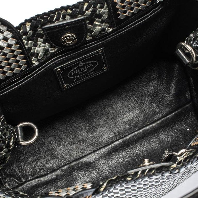 Prada Black/Silver Woven Leather Madras Tote For Sale 4