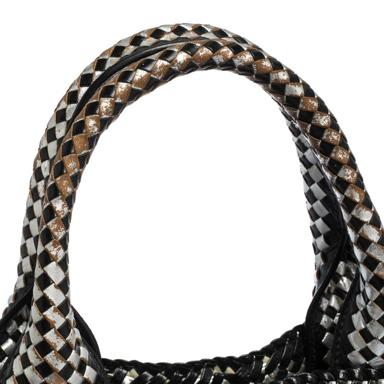 Prada Black/Silver Woven Leather Madras Tote For Sale 5