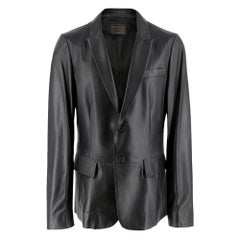 Prada black single-breasted 100% lamb skin Jacket	size 50