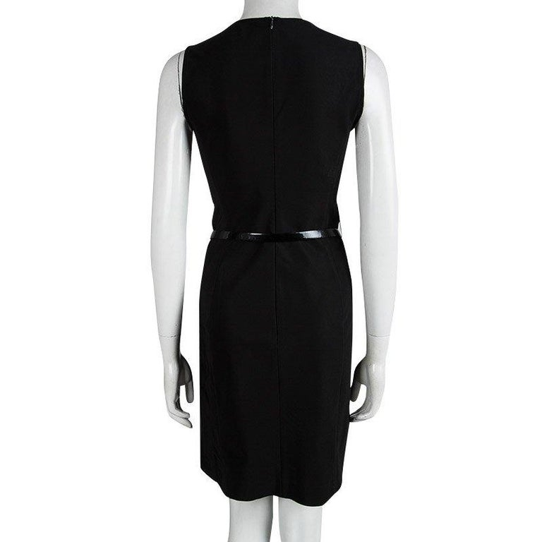 Prada Black Sleeveless Belted Shift Dress S In Good Condition For Sale In Dubai, AE