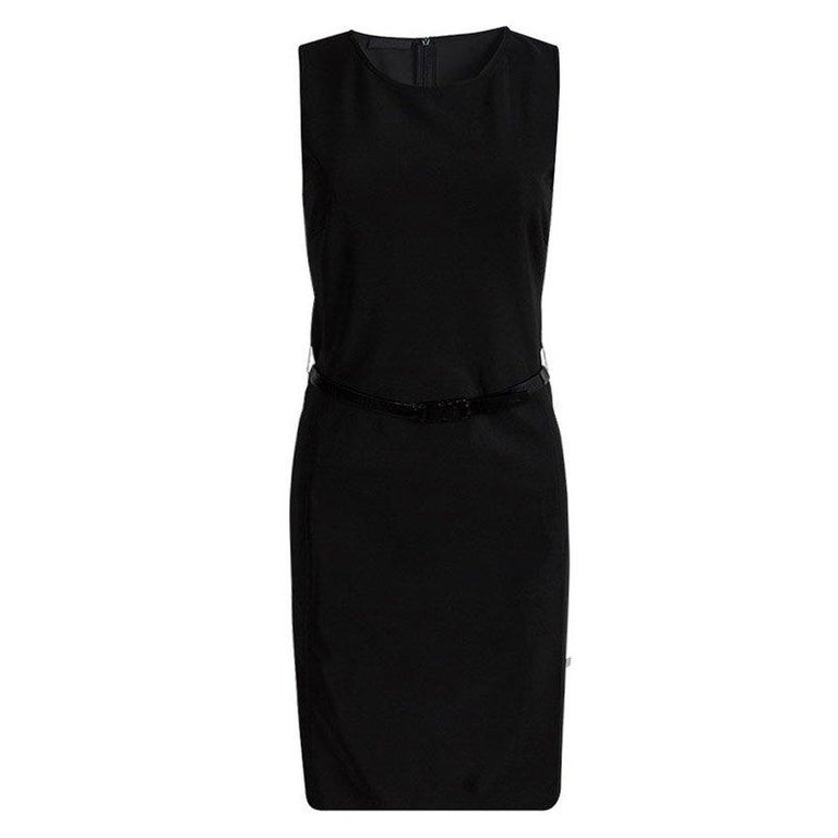 Prada Black Sleeveless Belted Shift Dress S For Sale