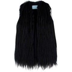 Prada Black Sleeveless Goat & Fox Fur Jacket - Size US 0-2