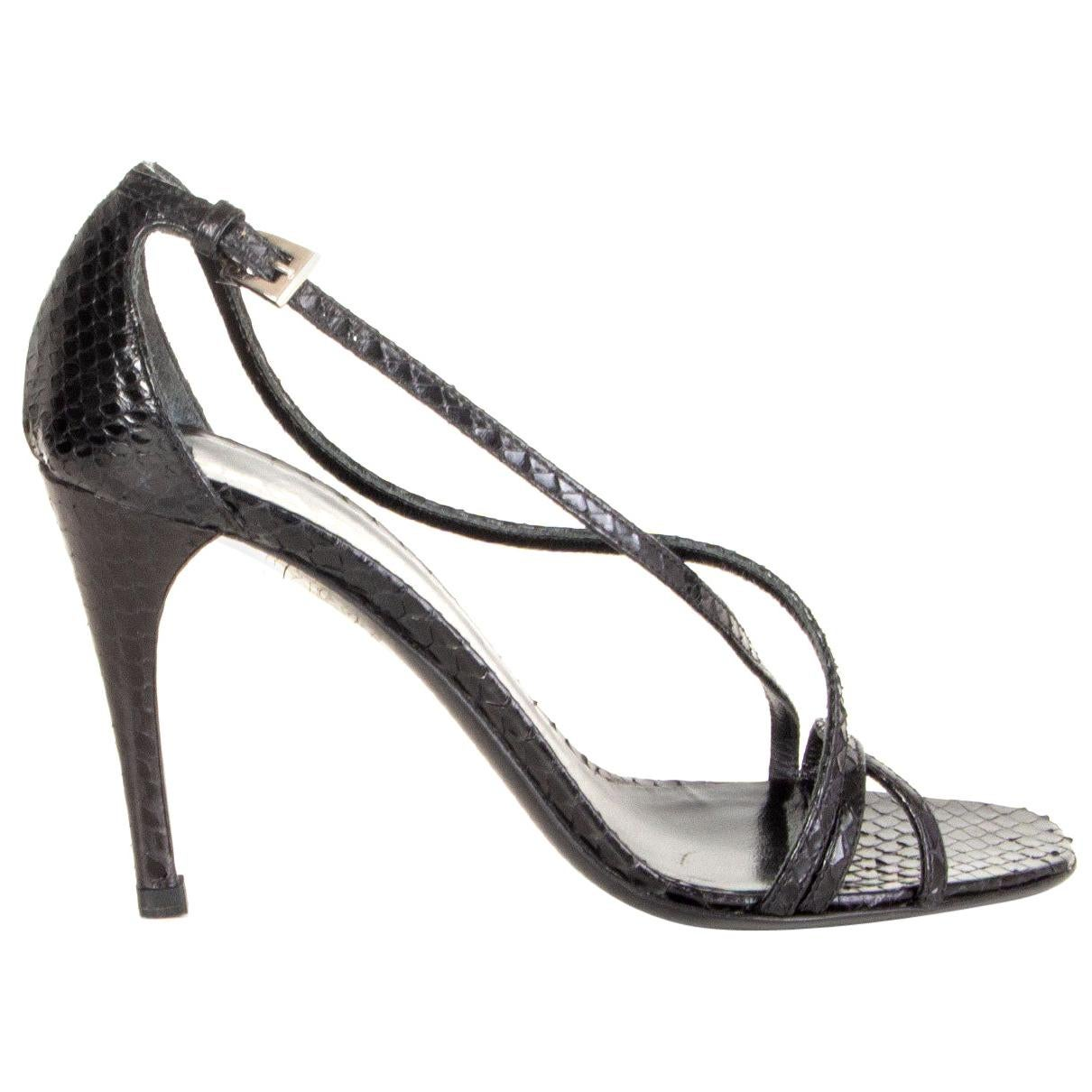 PRADA black snakeskin leather Sandals Shoes 35.5