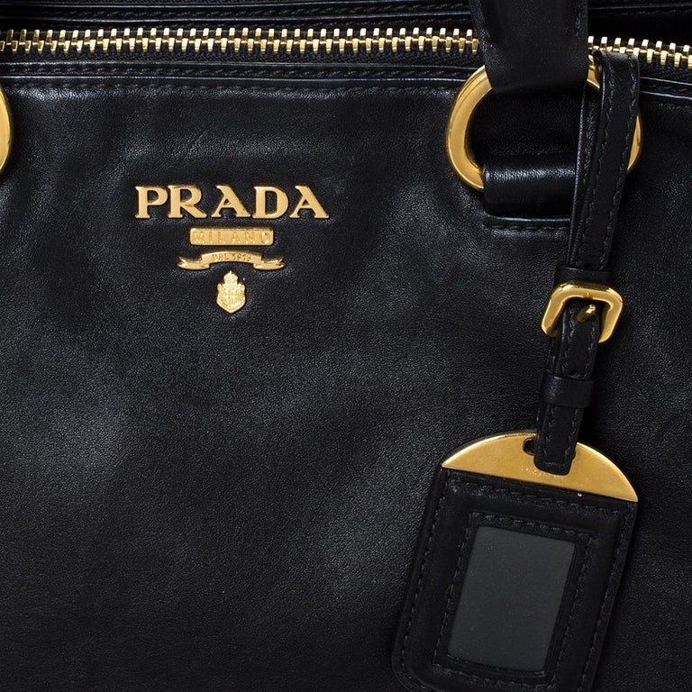 Prada Black Soft Calf Leather Double Zip Tote For Sale 6