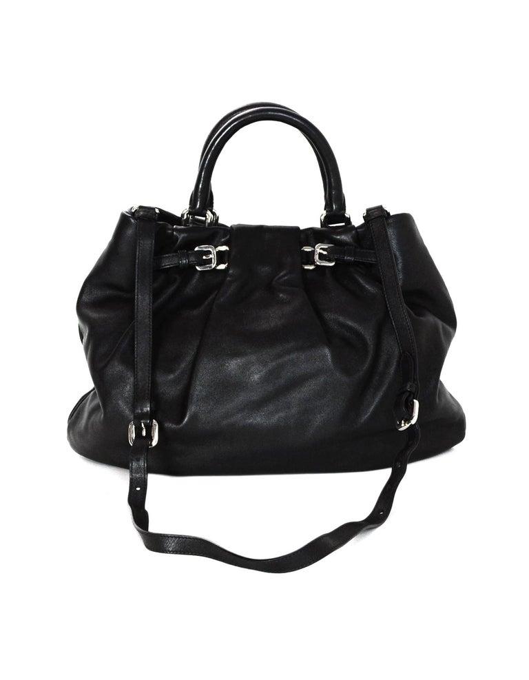 3e828542e3ce Women s Prada Black Soft Calf Leather Top Handle Bag W  Crossbody Strap For  Sale