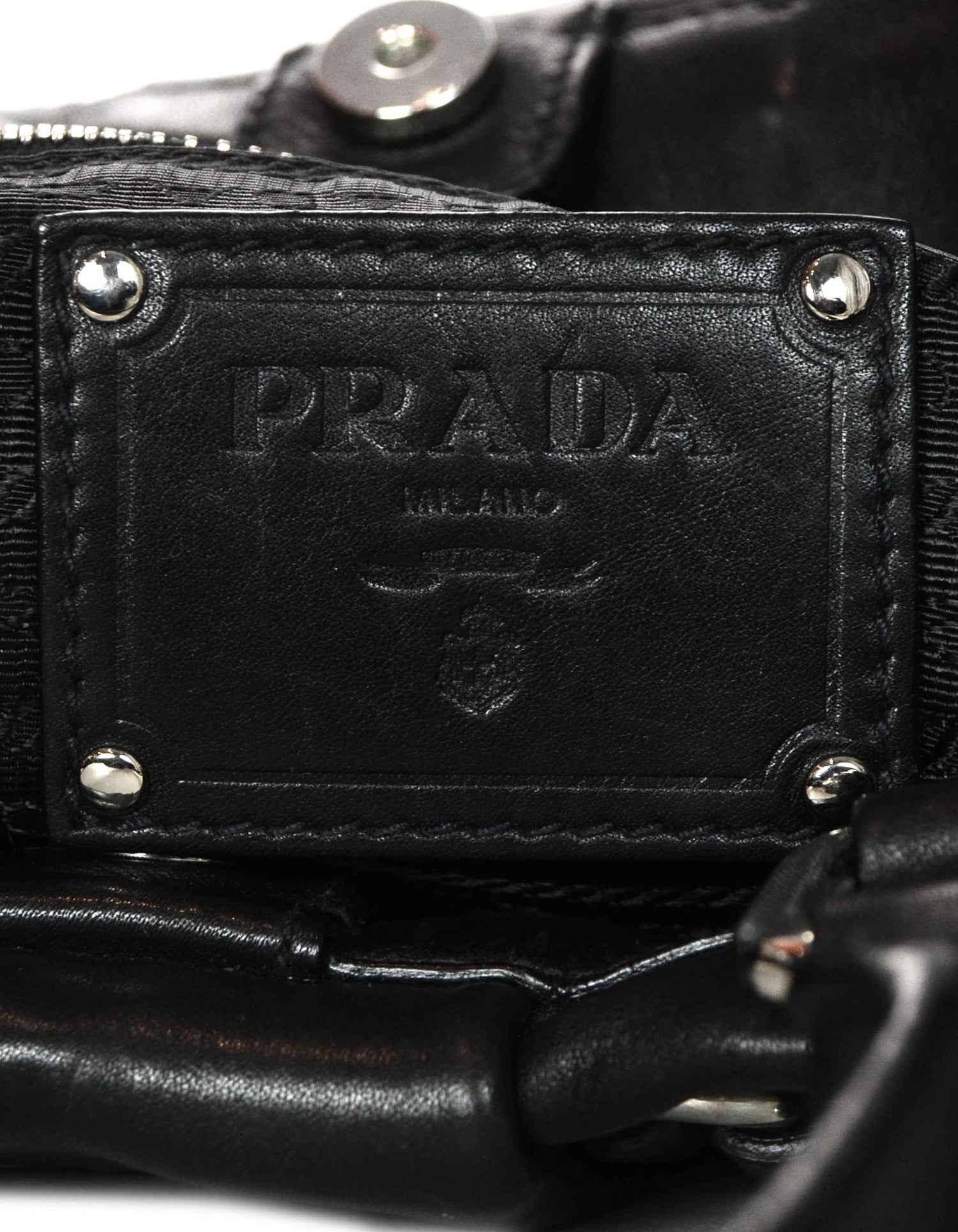 1c8feab51082 Prada Black Soft Calf Leather Top Handle Bag W  Crossbody Strap For Sale at  1stdibs