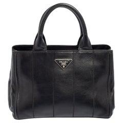 Prada Black Soft Calf Leather Vertical Stitched Tote