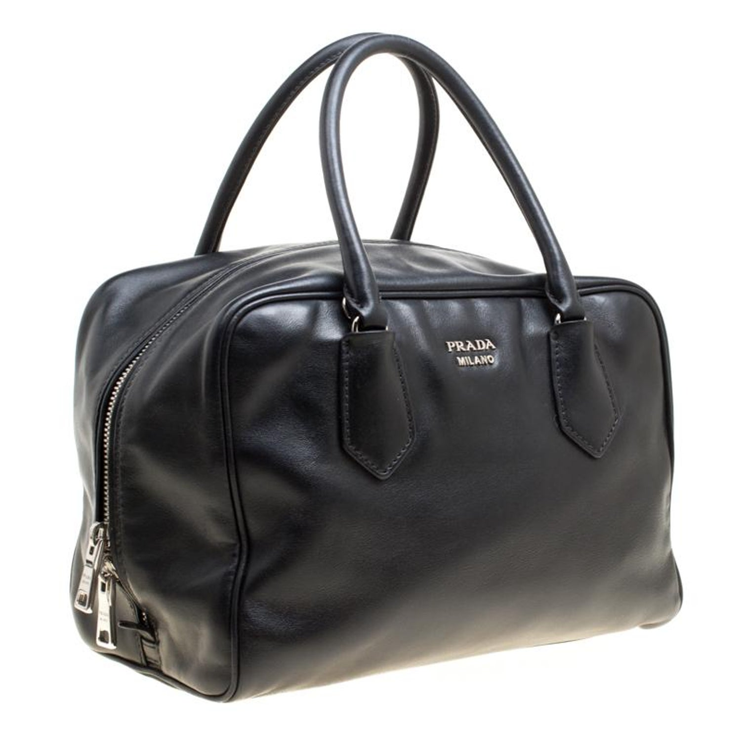 fb467aadfc Prada Black Soft Leather Bauletto Satchel For Sale at 1stdibs