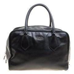 Prada Black Soft Leather Bauletto Satchel