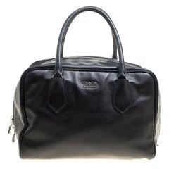 Bauletto Satchel aus weichem schwarzem Leder von Prada