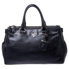 Prada Black Soft Leather Double Zip Tote