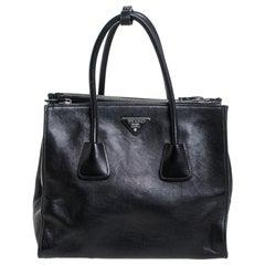 Prada Black Soft Leather Medium Twin Pocket Tote