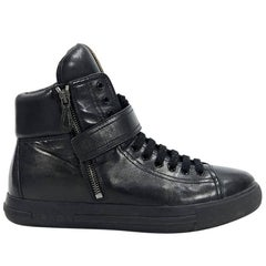 Prada Black Sport Leather High-Top Sneakers