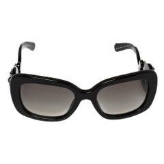 Prada Black SPR33P Crystal Embellished Rectangular Sunglasses