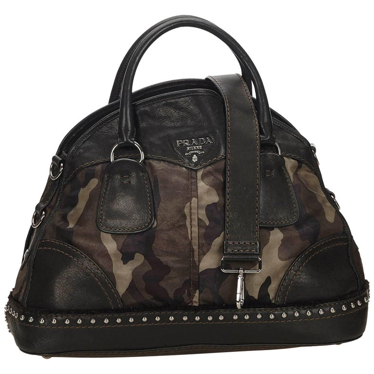99c5928be3b5 Prada Black Studded Camouflage Tessuto Nylon Satchel at 1stdibs