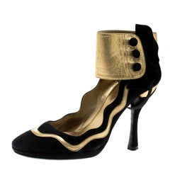 Prada Black Suede And Metallic Gold Leather Fairy Collection Ankle Cuff Pumps Si
