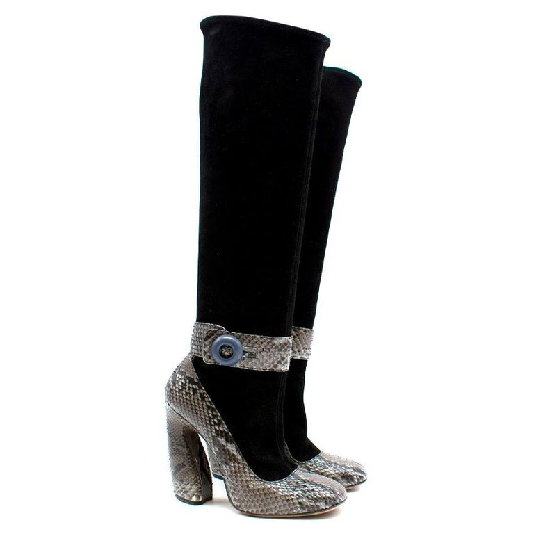 38e3f9cba09 Prada Black stretch-suede rounded square toe knee-high boots with python  detail and