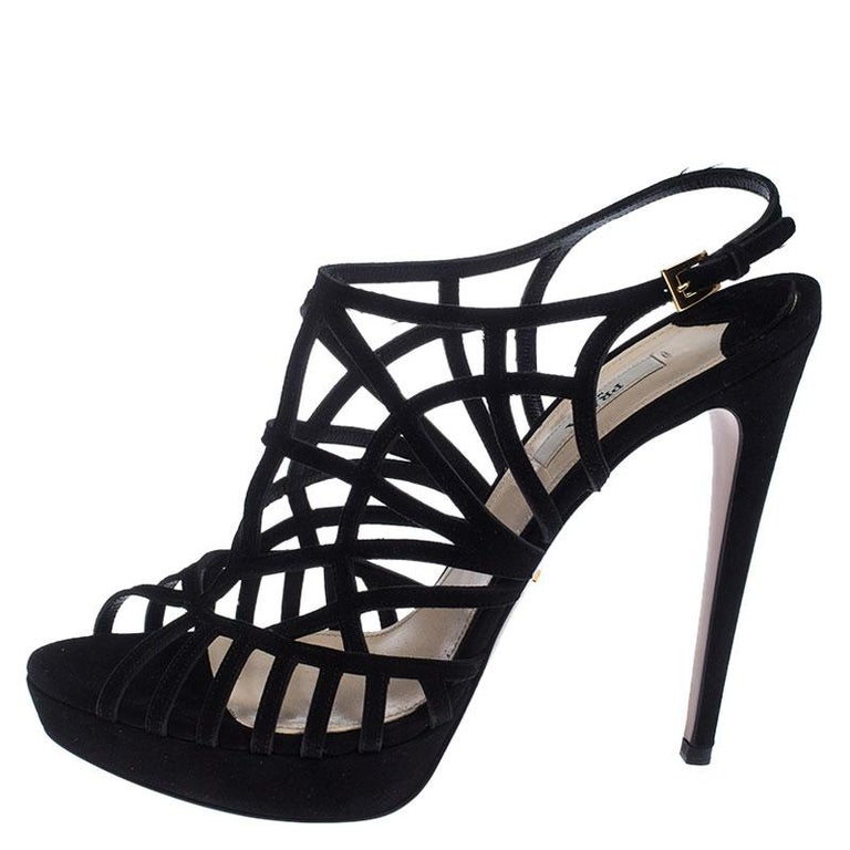 Prada Black Suede Caged Ankle Strap Sandals Size 41 For Sale 1