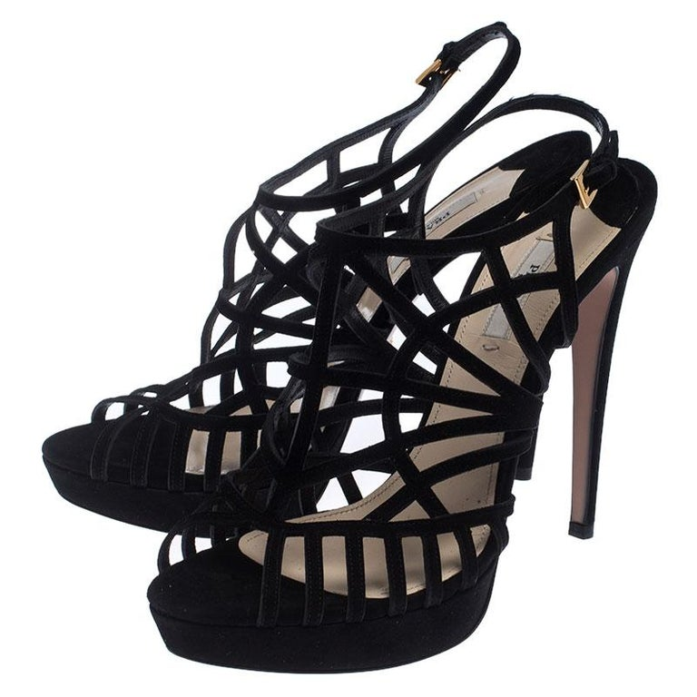 Prada Black Suede Caged Ankle Strap Sandals Size 41 For Sale 3