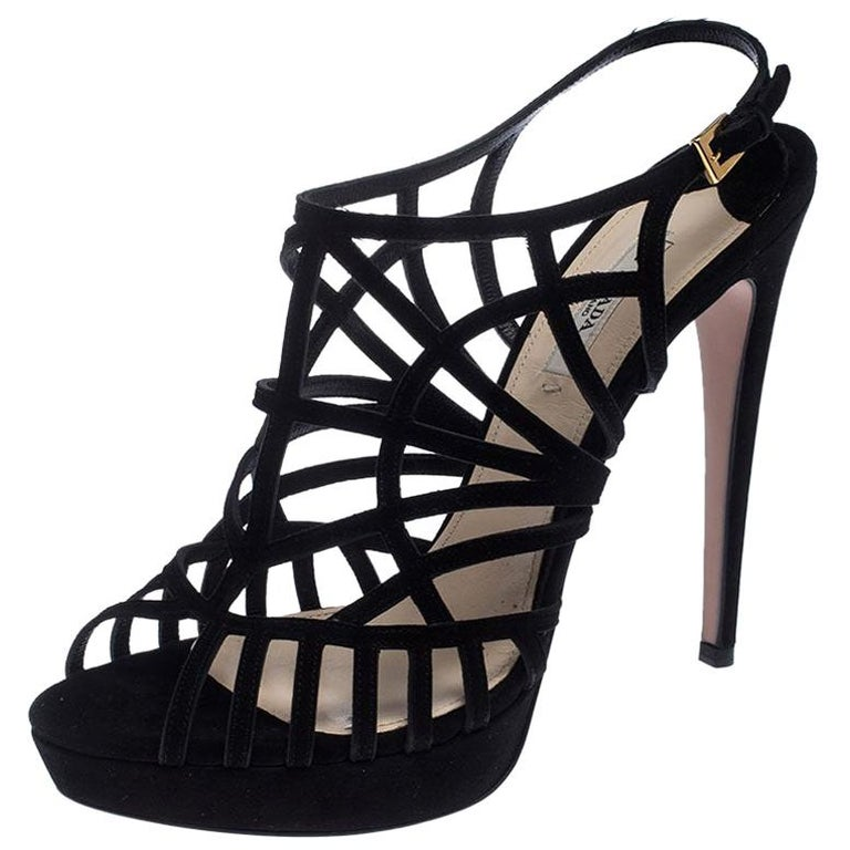 Prada Black Suede Caged Ankle Strap Sandals Size 41 For Sale