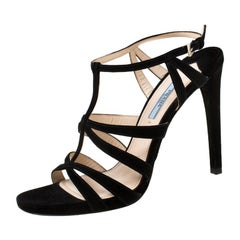 Prada Black Suede Cross T Strappy Sandals Size 39