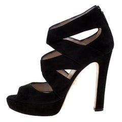 Prada Black Suede Cut Out Open Toe Platform Sandals Size 38
