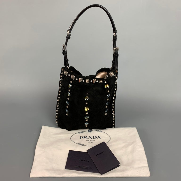 PRADA Black Suede Embellished Rhinestones Evening Handbag For Sale 6