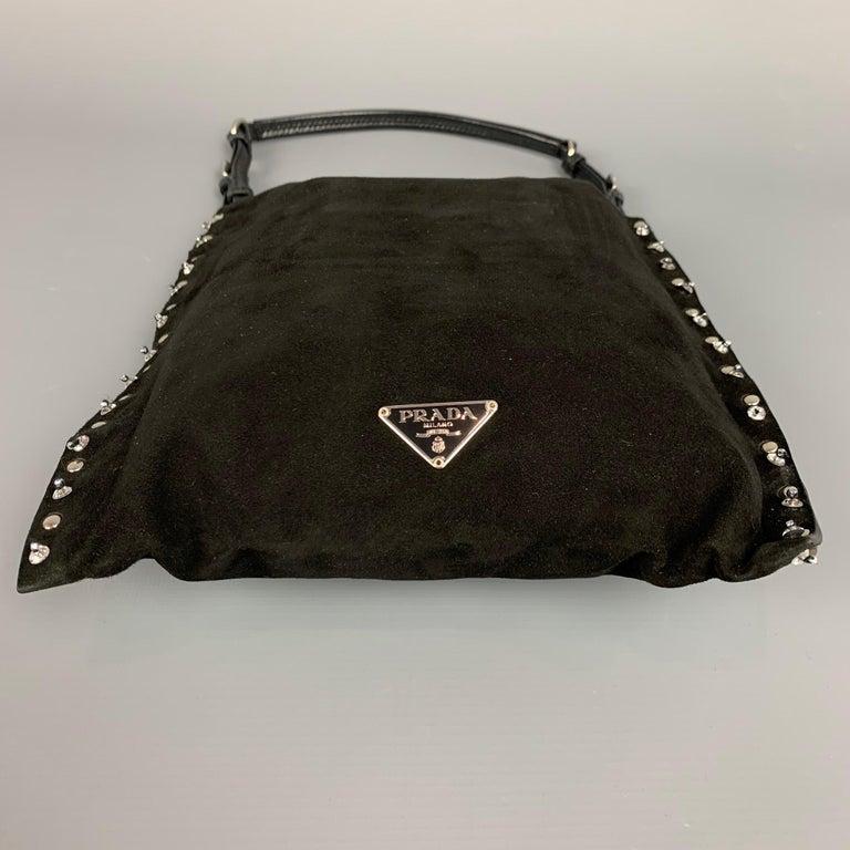 PRADA Black Suede Embellished Rhinestones Evening Handbag For Sale 1