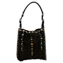PRADA Black Suede Embellished Rhinestones Evening Handbag