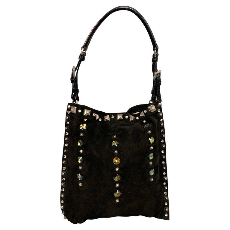 PRADA Black Suede Embellished Rhinestones Evening Handbag For Sale