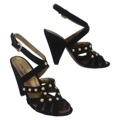 Prada Black Suede & Gold Stud Sandals Shoes Sz 38