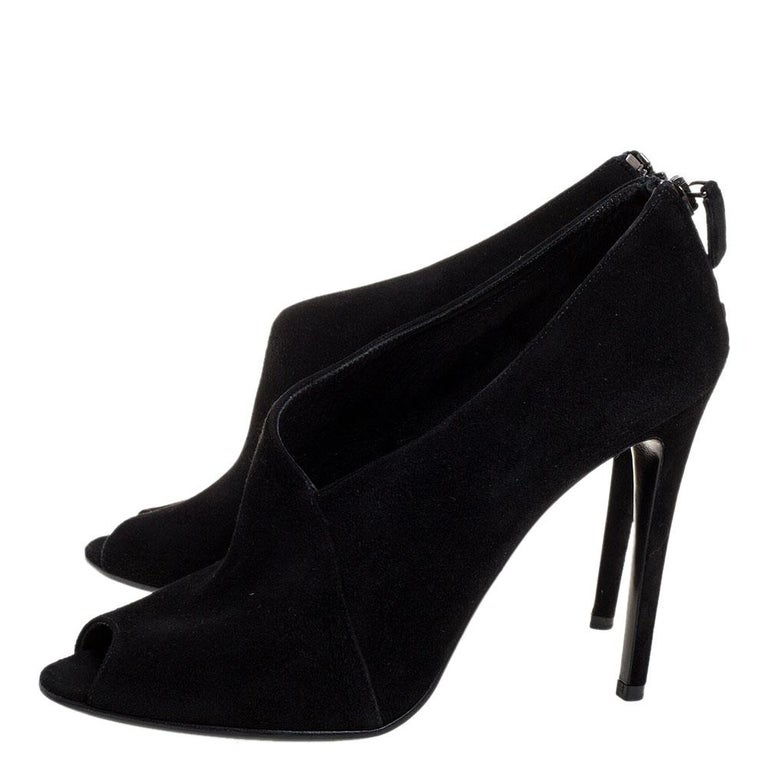 Prada Black Suede Leather Peep Toe Ankle Booties Size 38.5 For Sale 1
