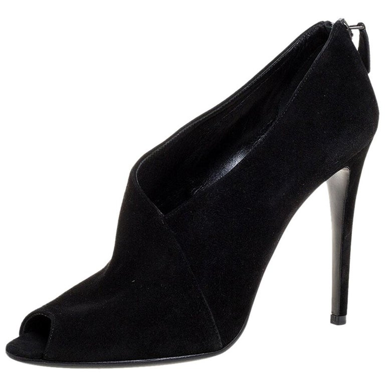 Prada Black Suede Leather Peep Toe Ankle Booties Size 38.5 For Sale