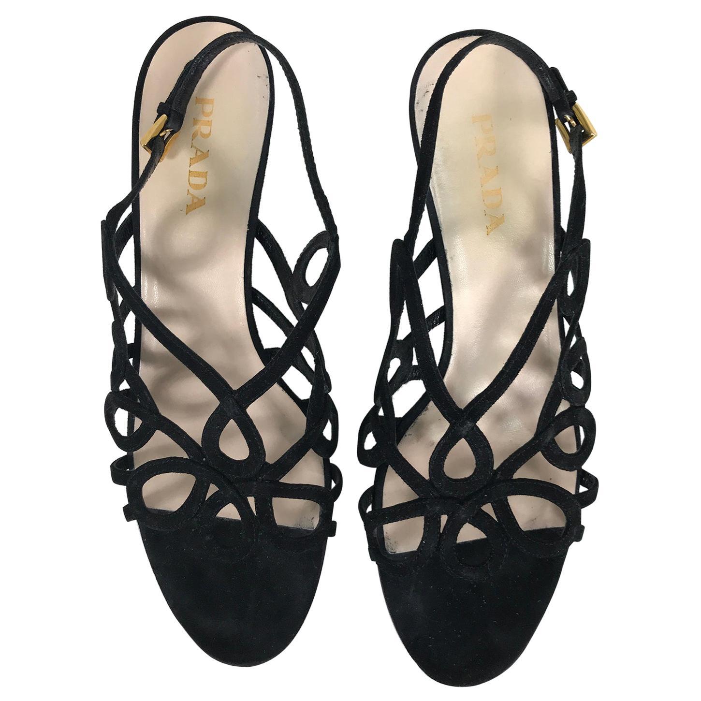 Prada Black Suede Loop High Heel Sandals 38 1/2