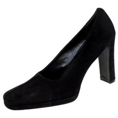 Prada Black Suede Square Toe Pumps Size 39