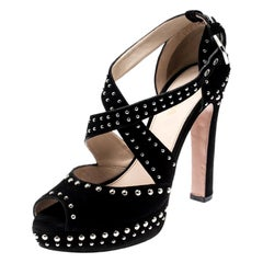 Prada Black Suede Studded Cross Strap Platform Sandals Size 38