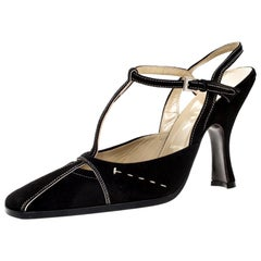 Prada Black Suede T Bar Square Toe Ankle Strap Pumps Size 37.5