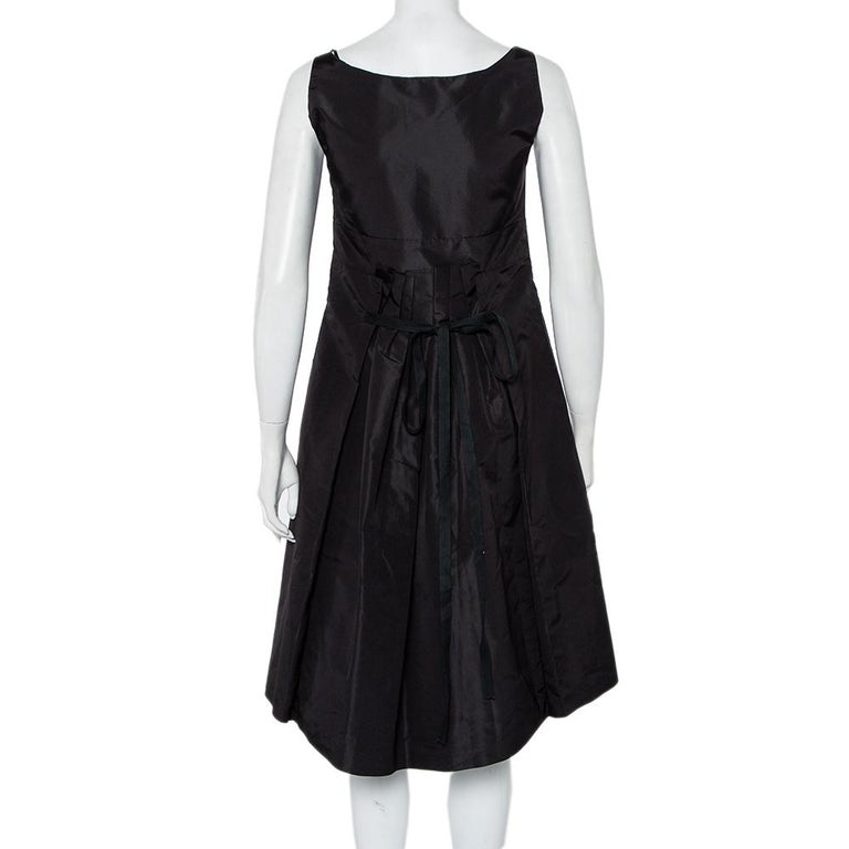 Prada Black Synthetic Sleeveless Faux Wrap Midi Dress L In Good Condition For Sale In Dubai, Al Qouz 2